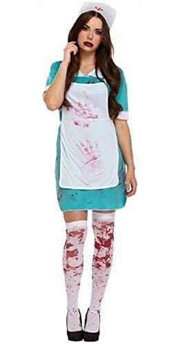 Damen Blutige Zombie Krankenschwester Arzt Unheimlich Halloween Kostüm Kleid Outfit UK 10-14 - Grün, One Size fits UK 10-14