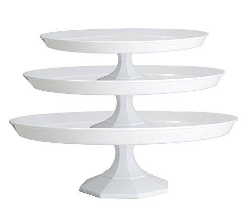 Eleganter, schwerer 3-stöckiger Kuchenständer aus Kunststoff, Etagere für Kuchen/Cupcakes/Lebensmittel, 3-teilig, transparent weiß