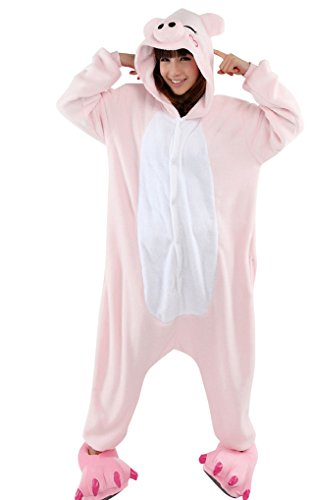 MissFox Kigurumi Pyjama Erwachsene Anime Cosplay Halloween Kostüm Kleidung Rosa Schwein (Schwein Kostüm)