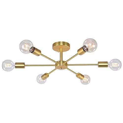 OYIPRO Nordisch Deckenleuchte 6-Flammig Deckenlampe Kronleuchter E27 Lampenfassung Metall für Wohnzimmer Schlafzimmer Esszimmer Balkon Restaurant Shop Bar