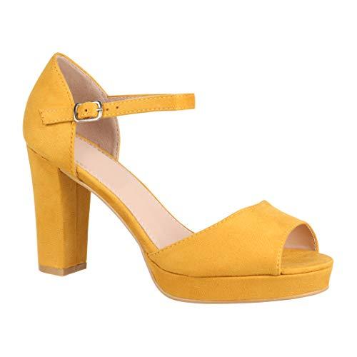 Elara Damen Pumps | Bequeme Peep-Toe Pumps | Trendige Plateau High Heels | Chunkyrayan 8116 Yellow-39 Sexy Fashion Schuhe High Heel