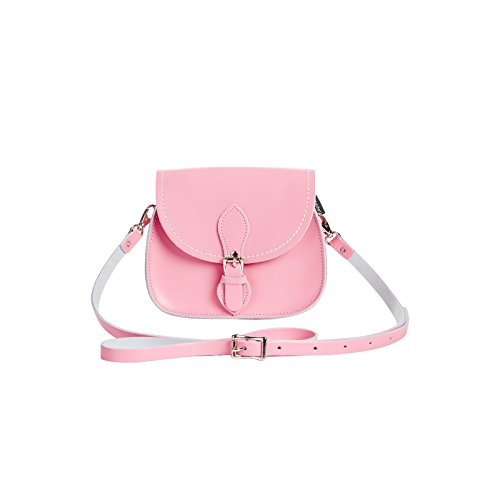 Zatchels Damen Pastell Leder Micro-Satteltasche, handgefertigt in Großbritannien Pink