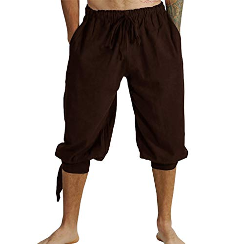 Herren Retro Shorts Lässige Leinen Kurze Hose Viktorianische Periode Renaissance Hosen Lace-up Lose Capri Hosen 3/4 Kurze Hose -