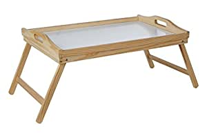 Premier Housewares Pinewood Bed Tray with White Top and Folding Legs, 21 x 50 x 31 cm