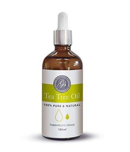 Teebaumöl 120 ML Große Größe Die klassische 100% naturreines ätherisches Öl vegan - gegen unreine Haut, Hautentzündungen, Anti-Pickel und gegen Akne wie Pilze wie Nagelpilz und Fußpilz