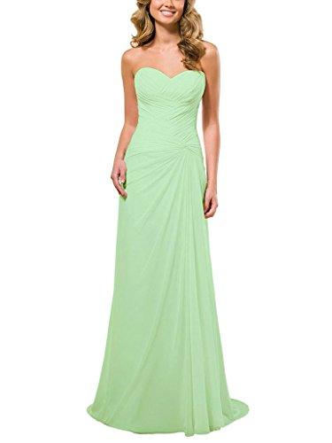 JAEDEN A Linie Chiffon Brautjungfernkleider Lang Traegerlos Abendkleid Festkleid Ballkleid Partykleid Salbei