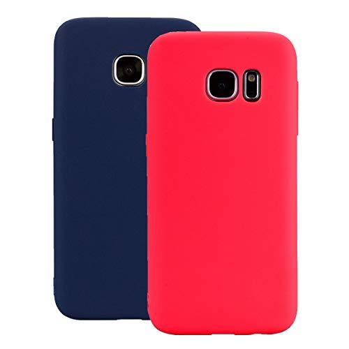 Misstars Silikon Hülle für Galaxy S6 Edge, Soft Flex TPU Case im Candy Design Ultra Dünn Matt Weich Handyhülle Anti-Stoß Kratzfeste Schutzhülle für Samsung Galaxy S6 Edge, Rot + Dunkelblau