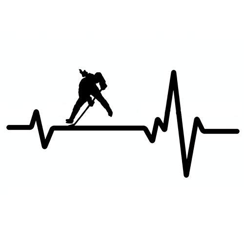 MCTYLI 16.4CM * 7.6CM Hockey Face-Off Girl Center Schläger Heartbeat Vinyl Schwarz/Silber Auto Aufkleber