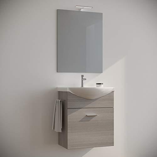 MarinelliGroup Mobile Bagno salvaspazio sospeso 60 Rovere Grigio con lavabo Ceramica Specchio e Luce LED. Ginestra