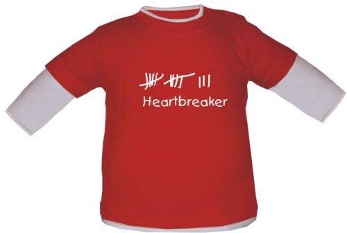 Baby/bambini maglia a maniche lunghe con stampa Heartbreaker/in 3 colori e 7 misure, Farbe: Rot/Weiss, 18 - 24 mesi
