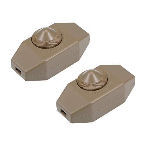 ZCHXD Rotary Cord Switch AC 250V 2A Slide Control Lamp Dimmer 100-Watt Brown (Pack of 2) -