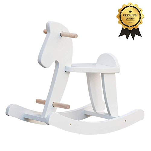 labebe - Baby Rocking Horse, Kid Ride on Toy for 1-3 Years Old, Wooden Toddler Rocking Toy, Child White Rocking Horse, Infant Rocking Animal, Outdoor Garden Animal Rocker, Nursery First Rocking Horse