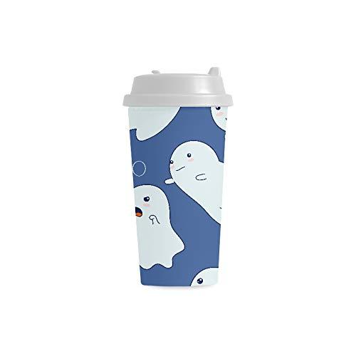 iechspaß Spaß Geist kundenspezifischer Druck 16 Unze Doppelwand Plastikisolierte Sportwasser Flaschen Schalen Pendler Reise Kaffeetassen für Studenten Frauen Milch Teetasse Getränk ()