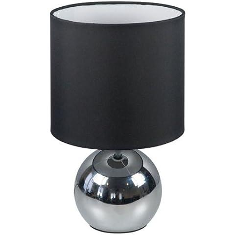 Ranex Noa - Lámpara de mesa con función táctil, metal cromado y tela, color negro