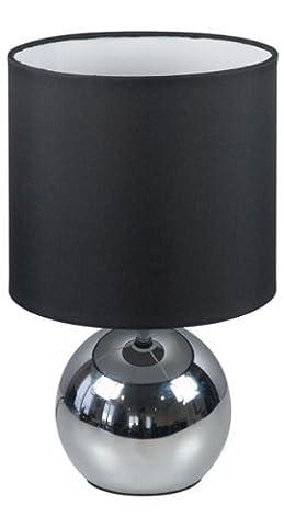 Ranex 6000.196 Lampe Abat-Jour Touch 3 Intensités Chrome Tissu Noir