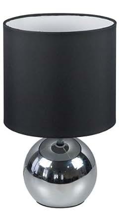 Ranex Touch function chrome/ Black Textile Table Lamp, 180 X 180 X295mm, E14 40W Excl Bulbs