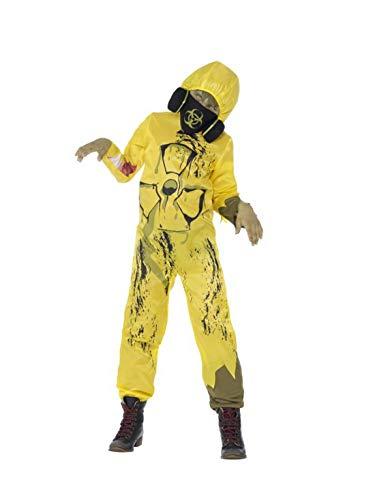Kind Chemiker Kostüm - Halloweenia - Jungen Kinder Biomüll Nuklear Atom Chemiker Anzug Einteiler Overall Kostüm, perfekt für Halloween Karneval und Fasching, 140-152, Gelb