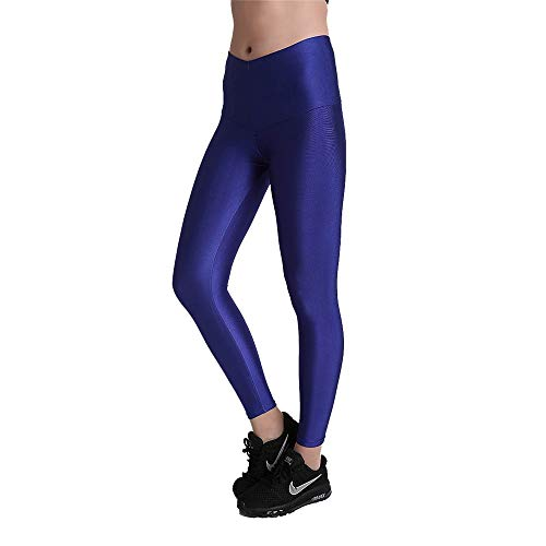 Solid Color-leggings (Happyplus1 Damen Laufhose Leggins, Dame Slim Yoga Leggings Fashion Solid Color Skinny Capri Hosen Fitness Gym Sporthose Jogger Athletic Active Strumpfhose Blau Yoga Sporthose Stretch-Hose Lauf-Tights)