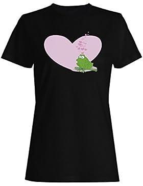 El Amor De La Rana Besa El Corazón camiseta de las mujeres o106f