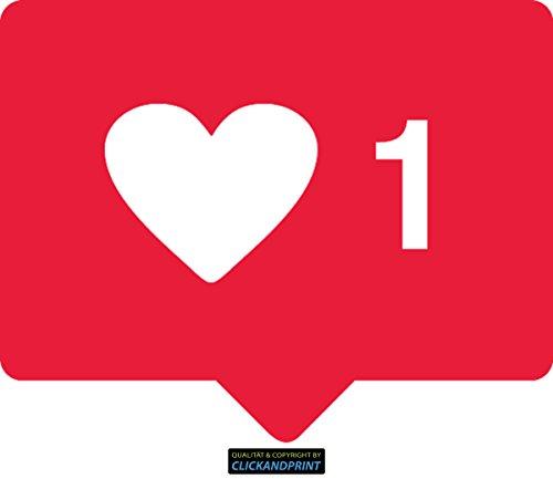 CLICKANDPRINT Aufkleber » Like Herz, 10x8,0cm, Blutrot • Dekoaufkleber / Autoaufkleber / Sticker / Decal / Vinyl