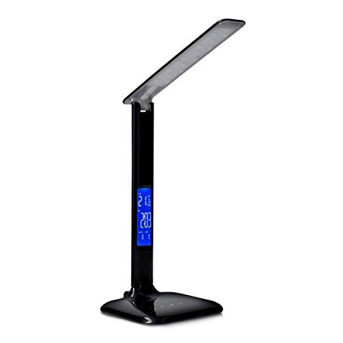 kwmobile Dimmbare LED Schreibtischlampe Lampe - Tischlampe mit USB Ladefunktion - Schreibtisch Nachttischlampe Tischleuchte mit LCD Display - Schwarz