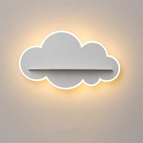 Kind Schlafzimmer Wandleuchten, 14W LED nordischen postmodernen Eisen Acryl kreative einfache Kunst weiße Wolken Dekor,Warmlight (Square-eisen-wand-dekor)