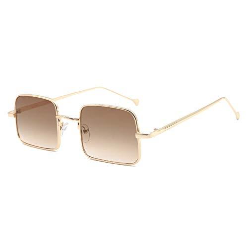 KJDFN New Golden Small Border Sonnenbrille Female Square Retro Driving Glasses Männer UV400 Schutz Trend (Farbe : Brown)