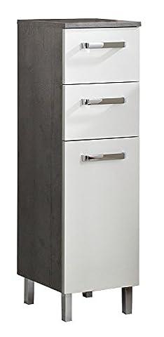 Midischrank Badezimmerschrank Kommode HADO 3 | Weiß Hochglanz | Grau