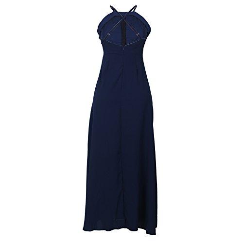 Dissa Or80414 Damen Langes Kleid Maxikleid Blau