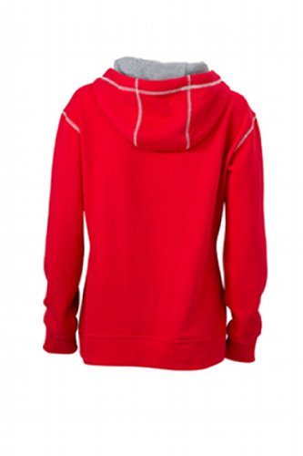 James & Nicholson Damen Sweatshirt Kapuzensweatshirt Ladies' Lifestyle Hoody red/grey-heather