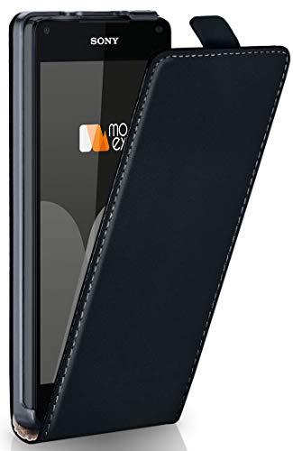 moex® Flip Case mit Magnetverschluss [Rundum-Schutz] passend für Sony Xperia Z5 Compact | 360° Handycover aus feinem Premium Kunst-Leder, Schwarz -