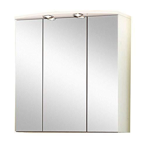 Held Möbel 174.3003 Denver Spiegelschrank 3-türig, 4 Einlegeböden, 70 x 69 x 20 cm, weiß
