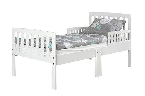 Leomark modern letto per bambini in legno con barre 140x70 cm + materasso bianco