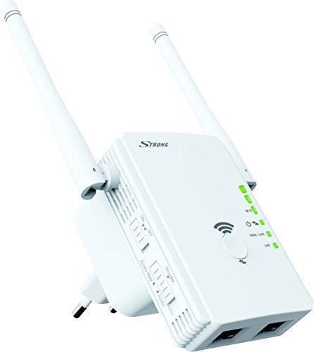 STRONG WLAN Repeater 300, Betriebsmodi: Universal Repeater/Access Point/Router, 300 Mbit/s bei 2,4 GHz, 2 LAN Ports, WLAN Verstärker - weiß