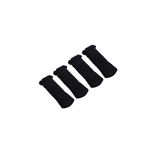 Moily Fayshow Verdickte Knitting Lace Füße Abdeckung Bügel Stuhl Bein Bodenschützer Möbel Anti-Rutsch-Stuhl Bein-Socken * 4, Schwarz, 7 18cm