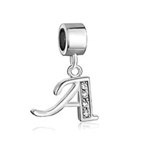 - 31jcCFNKCyL - Uniqueen Dangle A-Z Alphabet Initials Letter CZ Crystal Charm Beads fits chamilia & troll Bracelets