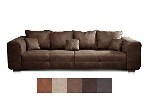 Cavadore Big Sofa Mavericco / Big Couch im modernen Design  in Lederoptik / Inklusive Rückenkissen und Zierkissen / 287 x 69 x 108 cm (BxHxT) / Mikrofaser Braun