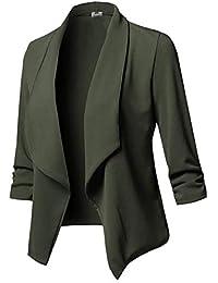 Chaquetas Mujer Manga Larga De Solapa Slim Fit Blazer Primavera Otoño Casual  Fashion Elegantes Oficina Negocios 80f8b857b341