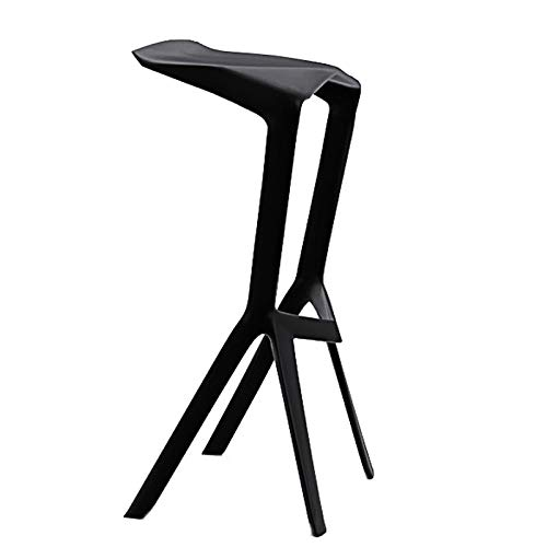 BAR STOOL Barhocker, Kunststoff Barhocker Integrated Moulding Hochstuhl ohne Armlehne geformt Anti-Rutsch-Stuhl 0530P (Color : Black) -