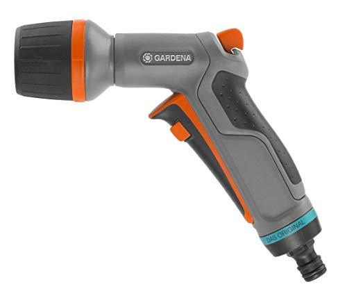 Gardena Comfort ecoPulse Pistola para una Limpieza Potente y Que Ahorra Agua, con Dispositivo de Bloqueo, Negro/Naranja/Turquesa, embalado