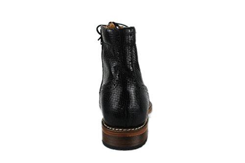 Zerimar Bottes avec Augmente Intérieur 7 cm Fait de Cuir de Haute Qualité Style Décontracté 100% Peau Noir