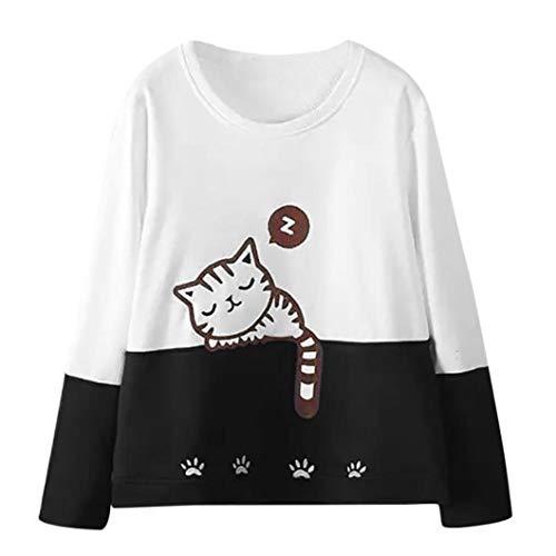 Zarupeng Damen Katze Stickerei Pullover Langarm Bluse Sweatshirt Mit Rundhalsausschnitt Oberteile Basic Shirt