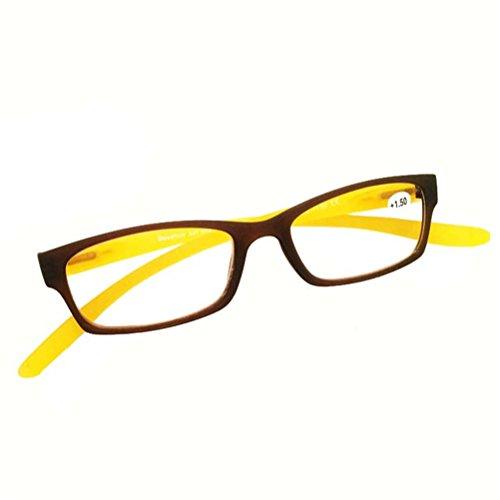 GFYWZ Lesebrille, Lange Tempel Für Hals Hängende Brillen, Presbyopie und Auge Strain Vision Brillen Brillen Für Männer Frauen,Yellow,2.00Strength