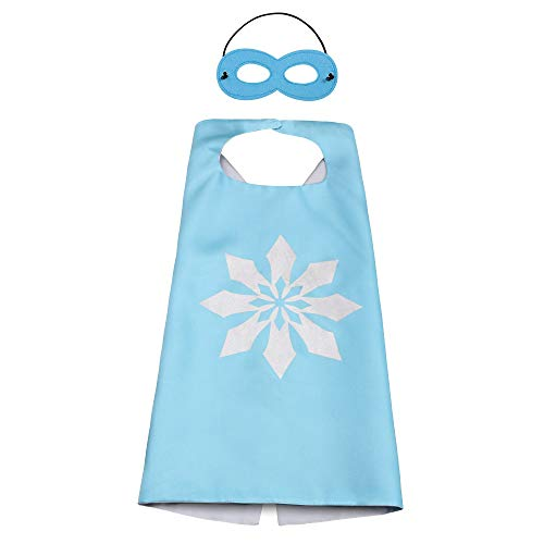 n Set Umhang & Maske Mädchen Prinzessin ELSA Kleid,Superheldenumhang & Maske Cosplay Kostüme Kinder fur Party Weihnachten Halloween Fest (Blau) ()