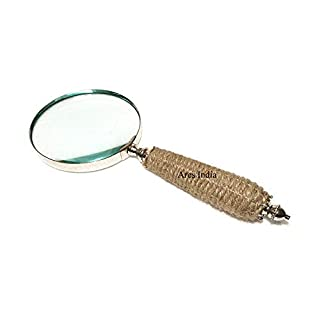 Ares India Brass Magnifier Twine Bounded Hand Held Magnifying Glass