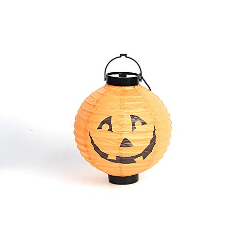 Newin Star Papier Kürbis Taschenlampe Dekorationen Halloween Anhänger Licht für die Dekoration Urlaub Scary Light (Orange) 1 Stück