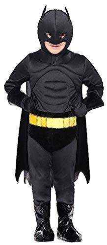 PICCOLI MONELLI Costume Bat Man Bambino 10 Anni Vestito Uomo Pipistrello di Carnevale Caldo con Muscoli