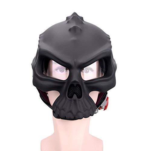 CYHX Motorrad Harley Helme, Persönlichkeit Mode Fahrrad Racing Kollisionshelm Dual-Use-Männer und Frauen-Schädel-Form-halbes Gesicht halb bedeckten Retro-Sommer-Helm (Size : Small)