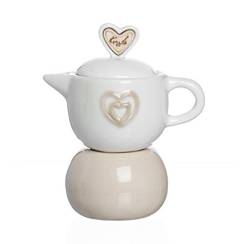 Publilancio srl 4 PZ Zuccheriera a Forma di caffettiera in Ceramica con Cuori BOMBONIERA
