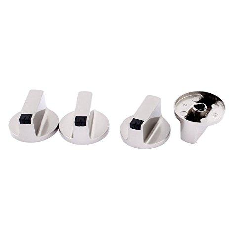 DealMux Backofen Herd Brenner Gas Control Legierungsbereich Schalterknöpfe Silber 4 Stück